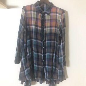 🛍Soft Surroundings Plaid Button Down Shirt Dress